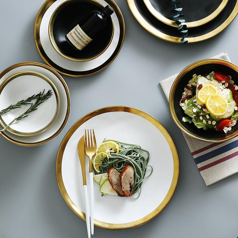 8 zoll/10 1/2 inch teller gold inlay snack gerichte luxus gold kanten weiß/schwarz platten geschirr küche reis platte schwarz