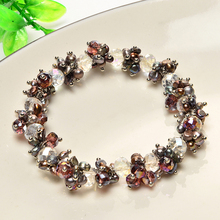 JIUDUO 100% Natural Freshwater Pearl Bracelets For Women China Crystal Dark Charm Bracelet Girlfriend Gift Hot Sale Jewelry