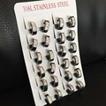 12pairs/lot Hot selling Trendy Cute black Hoop Earrings with shining stone For Women Stainless Steel Earring jewelry