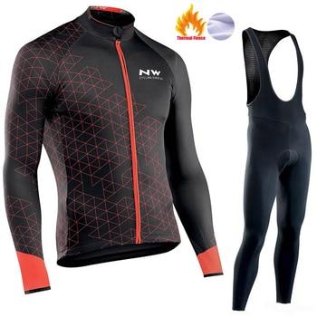 2018 NW Ciclismo Jersey Set Homens pro hombre ropa ciclismo triathlon Bicicleta Velo Térmico Inverno Manga Longa Roupas de Ciclismo