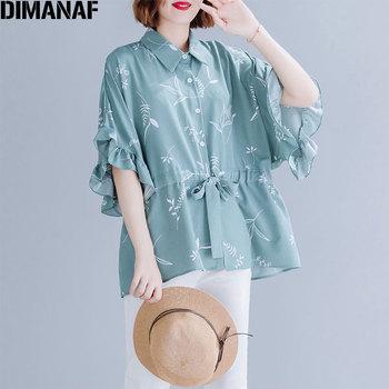 DIMANAF Plus Size Women Chiffon Blouse Shirt Female Lady Top Tunic Ruffles Loose Big Size Floral Print Summer Casual Clothes 5XL цена 2017