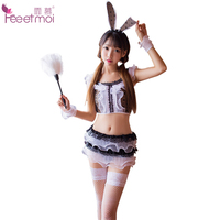 Feeetmoi Sleeveless Bunny Girl Sexy Lingerie Set Women Lace Wave Edge Cute Detachable Rabbit Tail Sexy