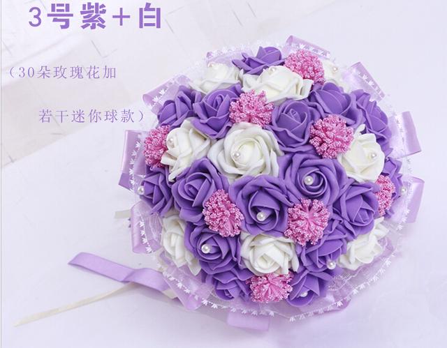 2017 dama de Honor Nupcial de La Boda Bouquet Barato Nueva Púrpura y WhiteHandmade Peonía Artificial Flores de La Boda Ramos de Novia