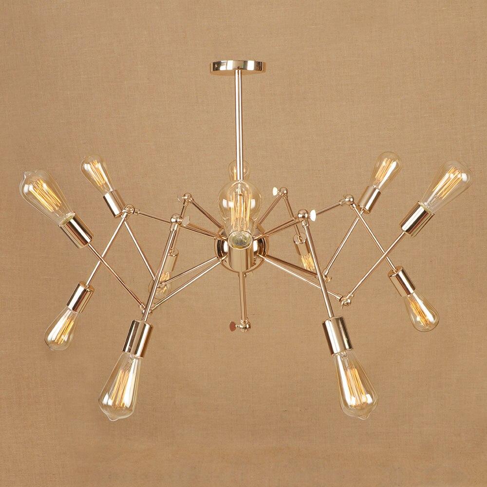 Modern big Spider chrome/gold color hang Pendant Lights 12/18 heads adjust E27 LED pendant lamp for kitchen bedroom living room anon маска сноубордическая anon somerset pellow gold chrome