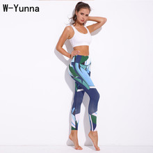 W-Yunna Trending Products 2018 Dark Blue Digital Printed Bodybuilding Leggings Sexy Was Thin Clothes Women Factory Outlets