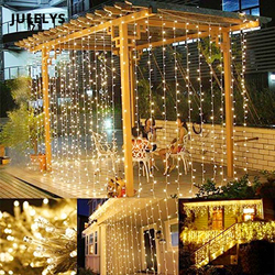 JULELYS 8M x 5m 1280 Bulbs Curtain Decorative LED Lights Garland Christmas Lights Outdoor For Wedding Holiday Party Home Garden