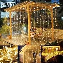 JULELYS 8M x 5m 1280 żarówki kurtyny dekoracyjne lampy led Garland świąteczne światła na zewnątrz na wesele przyjęcie świąteczne Home Garden
