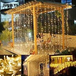 JULELYS 8M x 5m 1280 bombillas cortina luces de LED decorativo guirnalda luces de Navidad al aire libre para boda vacaciones fiesta casa jardín