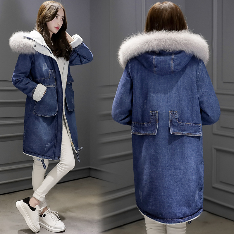 Casual Long Fox fur collar Hooded Jacket Women 2017 New Cotton Cashmere Autumn Winter Coat Thicking Zippers Denim Jacket FZ22 2017 winter new clothes to overcome the coat of women in the long reed rabbit hair fur fur coat fox raccoon fur collar