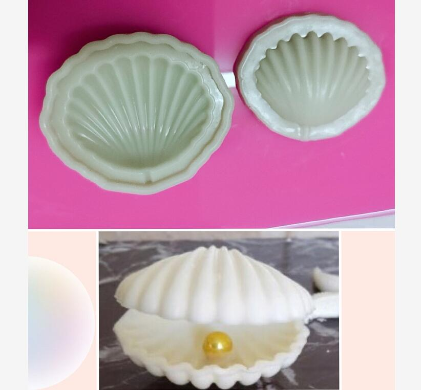 Cake Tool 3D Shell Pearl Sea Flower Silicone Mold Mould Wedding Cake Border Fondant Cake Decorating Clay Molds
