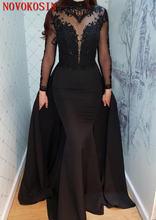 Современное прозрачное вечернее платье 2019 черное кружевное