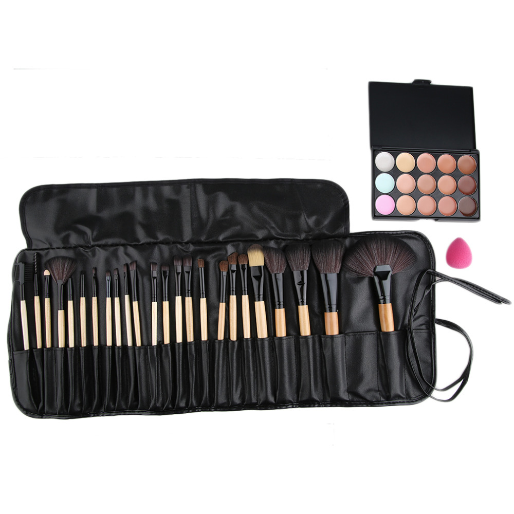 15 color beauty makeup concealer platte 24pcs pro makeup cosmetic brushes sponge puff set 2016 hot