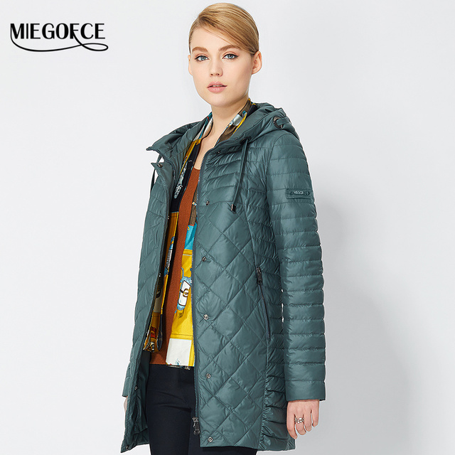 2017 Spring Warm Women's Coat With hood Fashionable Women's Park Jacket High Quality Thin Jackets Coats New Arrival MIEGOFCE