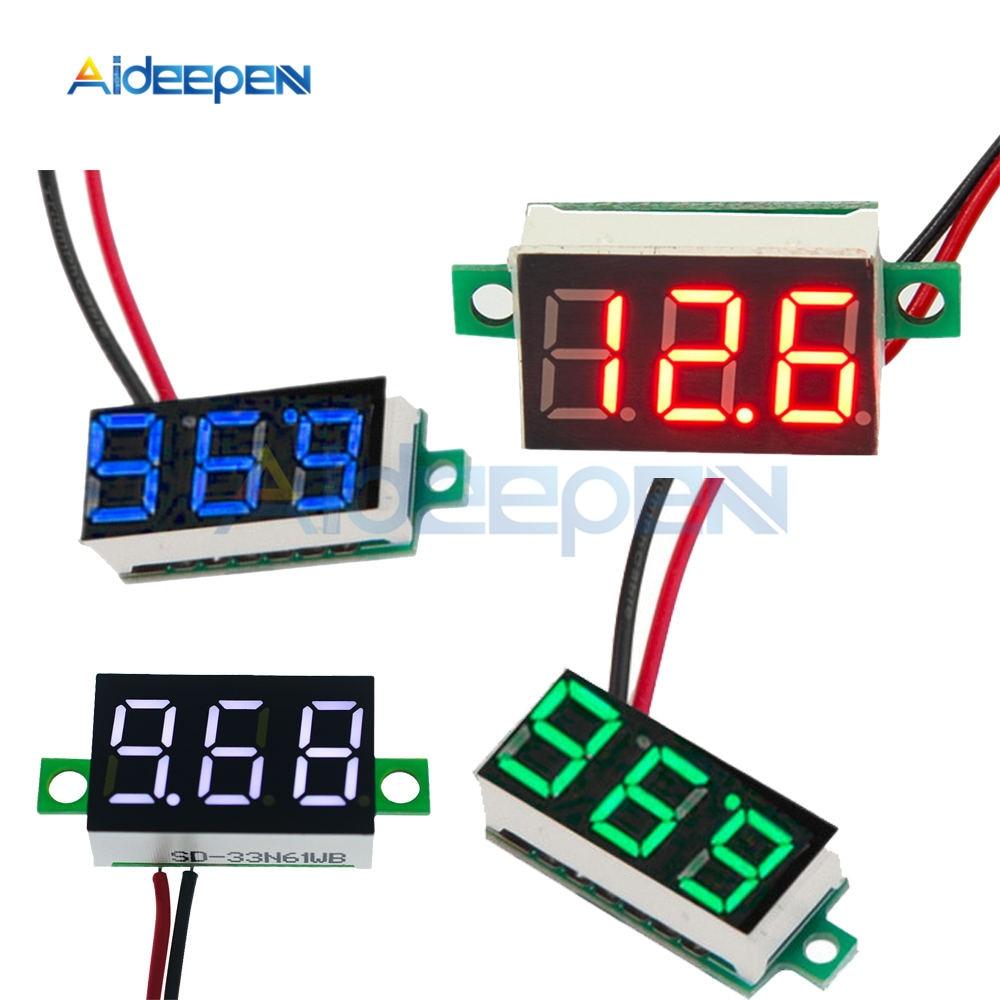 0.36 Inch 0.36'' DC 4.7-32V 3 Digit Display Voltmeter Mini LED Digital Panel Volt Voltage Meter Instrument Red/Blue/Gree/White