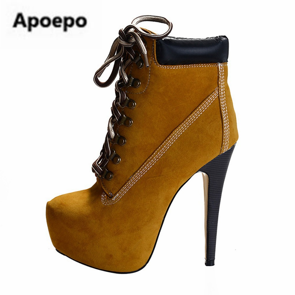 Apoepo brand yellow boots women winter over the knee boots cross-tied gladiator riding boots high heels platform shoes ladies nika jump winter sport yellow