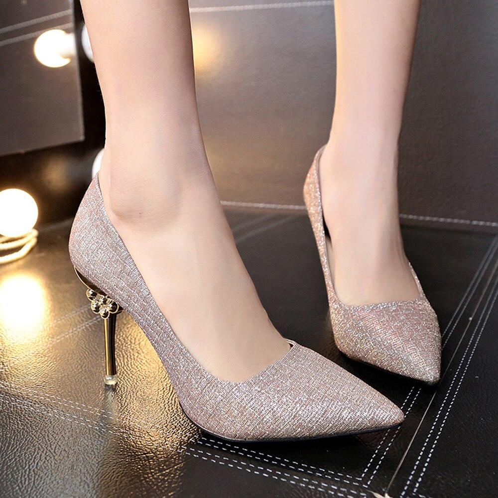 Paillette À Mode Solide Couleur Chaussures Gold Talons Hauts Pointu silver Femmes aPxFqxt