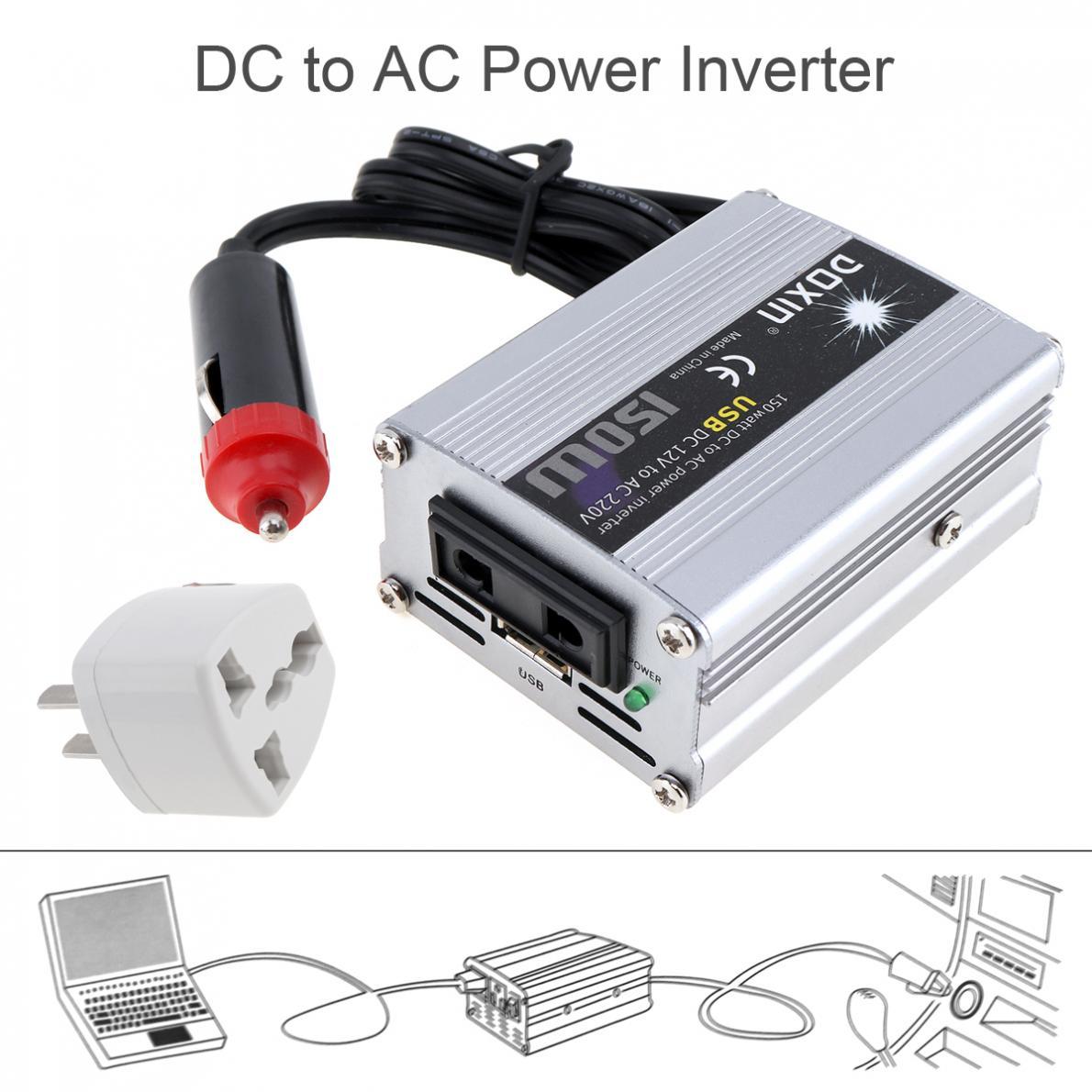 USB150W convertidor inversor de energía del coche doméstico DC 12 V 220 V adaptador de cargador de batería del coche fuente de alimentación del coche