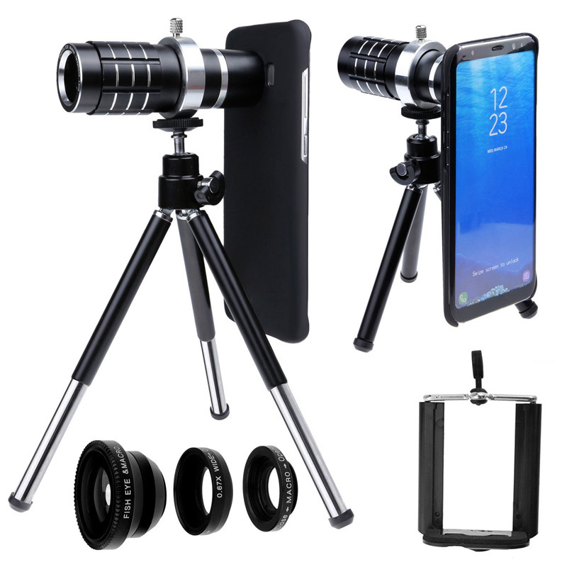 Kit d'objectif auto mis à jour: 12x téléobjectif + Fisheye + Macro + grand Angle + étui rigide + trépied Photo pour Samsung S8 Plus/pour Iphone 7 8 Plus