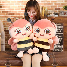 New 30-60cm Kawaii Honeybee Plush Toy Cute Cartoon Bee with Wings Soft Stuffed Dolls Lovely Pillow for Children Kids Girls Gift(China)
