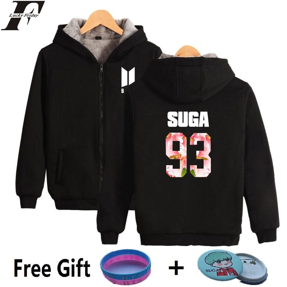 LUCKYFRIDAYF BTS Kpop Zipper Sweatshirt Women Hoodies Upset Bangtan Hip Hop Coats Winter Harajuku Hoodies Women Zipper Clothes