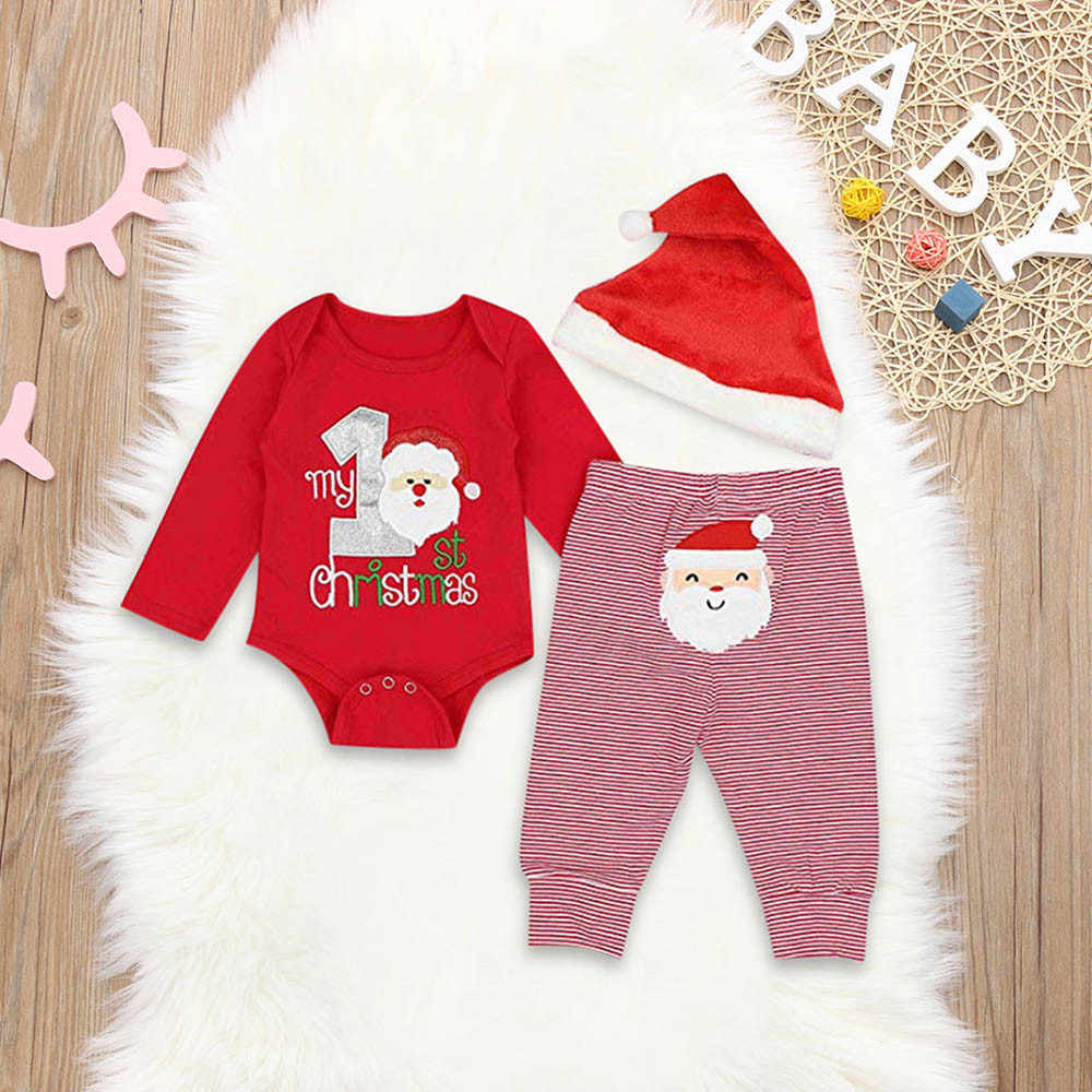 6288bd22f653a Detail Feedback Questions about 3PCS Infant Baby Letter Print Jumpsuit  Romper+Christmas Santa Print Pants+Hat Set Outfit Infantis Costume vetement  bebe ...