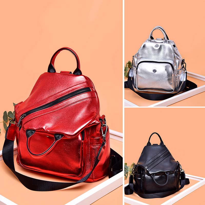New Multifunction Women Backpack Female Shoulder Bag High Quality Glitter Leather Backpacks School Bags For Girls mochila XA272H in Backpacks from Luggage Bags