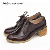 2018 European white red yellow Brogue Shoes Woman Brand Stars Bullock Cow Leather Lady Derby Shoes Creepers Oxford Shoes Brogues