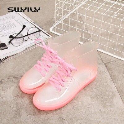 SWYIVY font b Rain b font font b Boots b font Woman Ankle Lacing Up Rubber