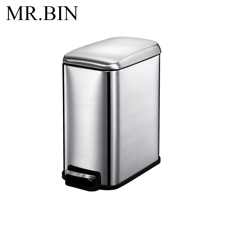 MR. BIN 5L Нержавеющая Сталь Шаг Мусорный бак педаль мусорное ведро с PP внутренний бак мусорное ведро современный простой мусорное ведро для дома - Цвет: Drawing Steel