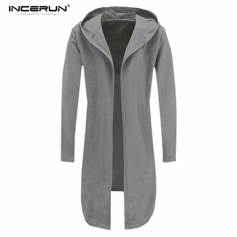 INCERUN мантии толстовки Для мужчин асимметричный подол с капюшоном плащ Плюс Размеры длинные Куртка с отворотом Куртка хип-хоп более Размеры d... ...