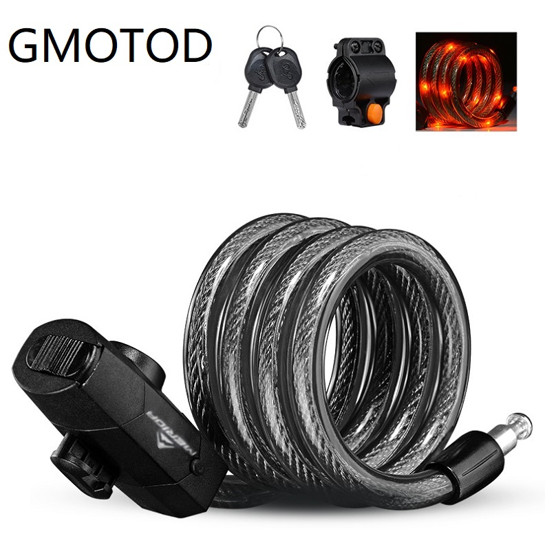 GMOTOD Bicycle Cable Lock With Bike Rear Light Waterproof USB Rechargeable Bike Anti Theft Locks