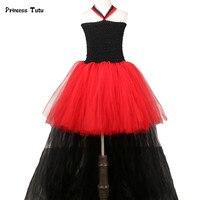 Đỏ Đen Tutu Ăn Mặc Cô Gái Train Tail Tulle Rockstar Nữ Hoàng Cosplay Ăn Mặc Trẻ Em Halloween Costumes Đối Với Cô Gái Buổi Tối Bên Dresses