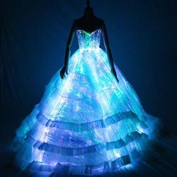 [CHENS SISTER] Intelligent Luminous APP control изменение цвета платье Новый годовой ужин хост вечерние светодио дный женское платье