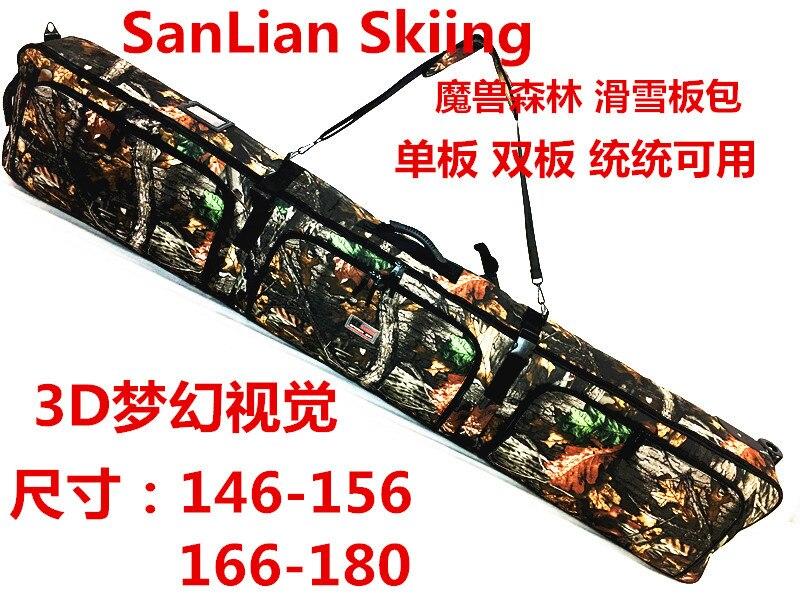156 cm Nouveau Single Conseil Double Snowboard Sac Avec Roues Grognement Ski Chaussures Titulaire Sac À Dos D'épaule Sac À Main Vérifié A4800