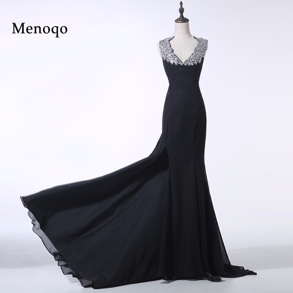 PRD249 Real Sample Special occasion Black Mermaid Beaded Chiffon Evening gown elegant long   prom     dress