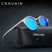 CNHUAIN Brand Designer Women's Glasses Polarized Round Sunglasses Men Vintage Driving Sun Glasses For Women oculos feminino 2017