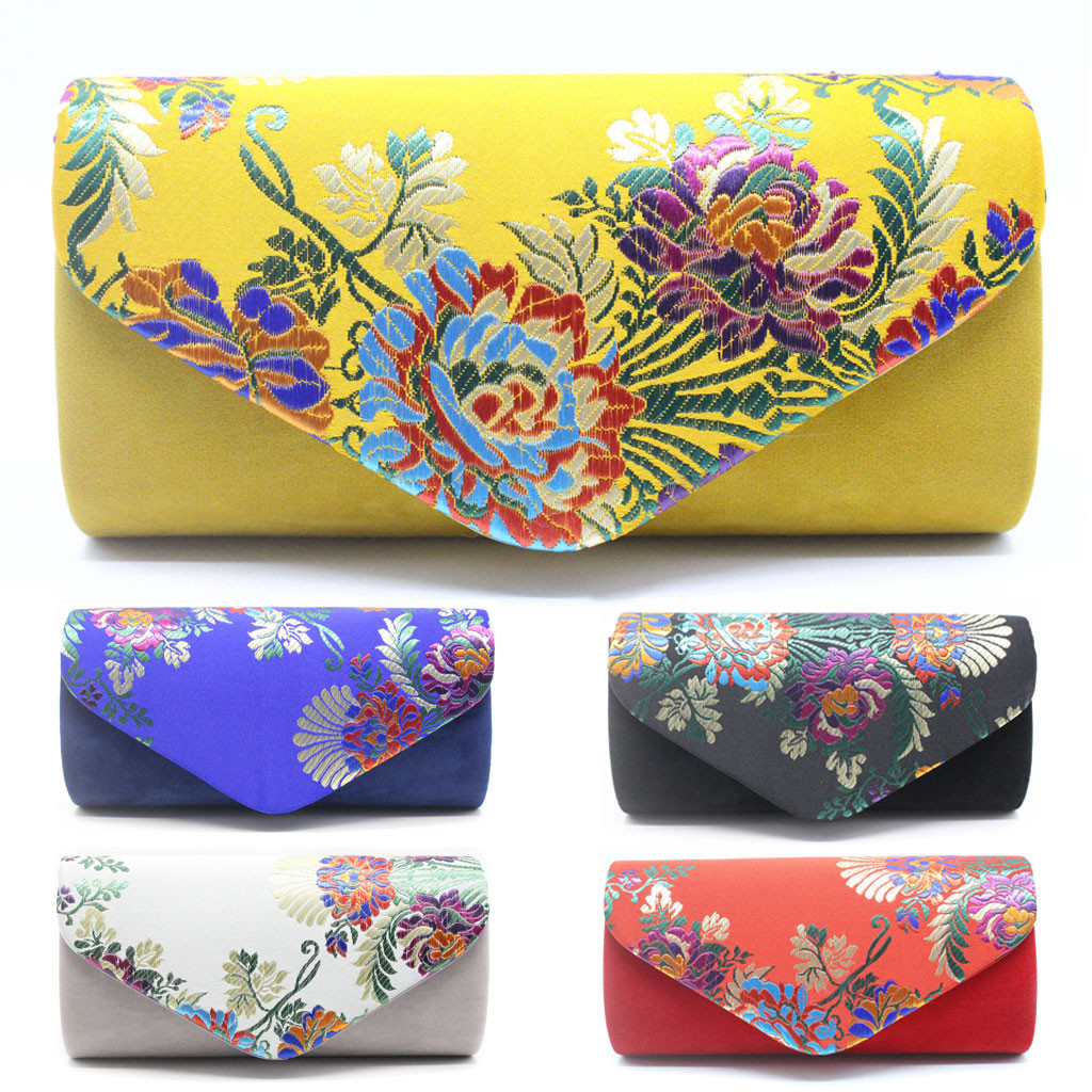 Women Evening Bags Fashion Chinese Style Embroidery Cocktail Party Bag Chain Evening Bag Torebki Damskie Clutch Female /0.7(China)