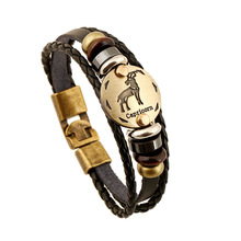 Fashion Bronze Buckles 12 Constellation Capricorn Bracelet Punk Leather Bracelets Wooden Bead Jewelry For Men Women Charm B11