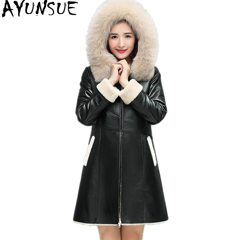 AYUNSUE Winter Genuine Sheepskin Coats Natural Double-faced Fur Coat Fox Fur Hood Real Leather Jacket For Women Plus Size YQ1007