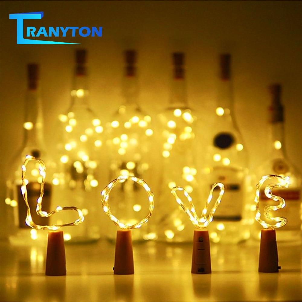 20 LEDs Garland Bottle Stopper Fairy Lights Wine Bottle Light With Cork Built-in Battery Copper Wire LED String For Christmas