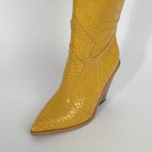 Image 4 - สีดำสีเหลืองสีขาวเข่าสูงรองเท้าบูทคาวบอยตะวันตกสำหรับผู้หญิง Winter BOOTS รองเท้าผู้หญิง Pointed Toe รองเท้า Cowgirl 2019