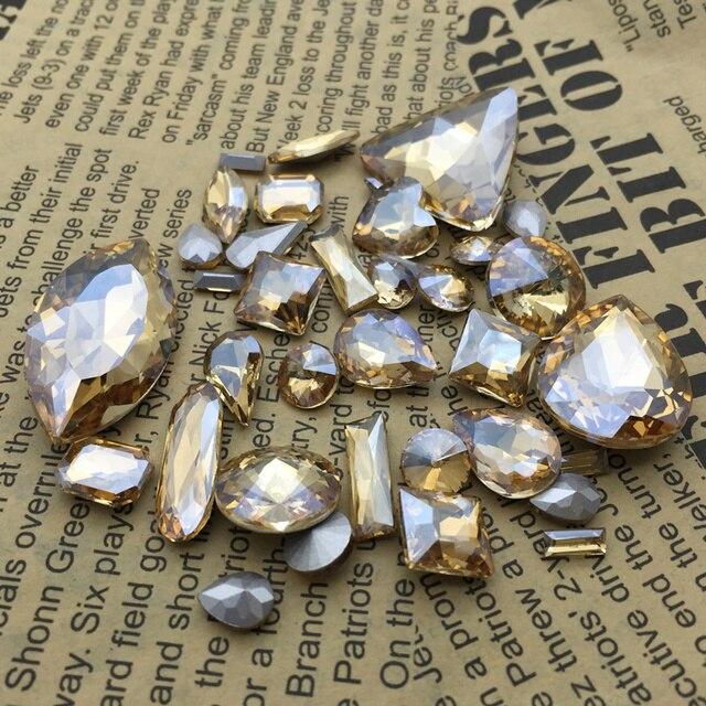a690ece9907f Venta al por mayor de oro Color champán cristal lujo piedras gota ...
