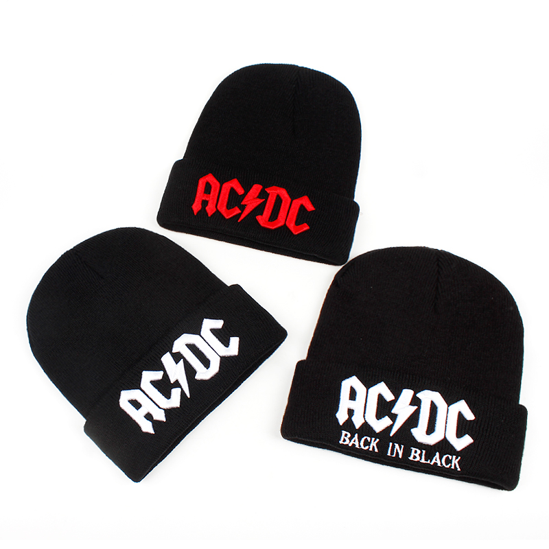 2018 new ACDC embroidery letter black knitted cap women's winter hats men's fashion out door warm knitting   beanie   caps ski cap