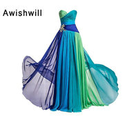 Hot Sale Cheap Sweetheart Beaded Ruched Chiffon Colorful Elegant Long Prom Dresses Floor Length Evening Formal Dress for Women