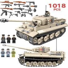 1018 шт. военные Пособия по немецкому языку King Tiger 131 майка солдат оружие строительные блоки кирпичи игрушки для мальчиков Совместимость с Legoed армии WW2