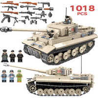 1018pcs Military German King Tiger 131 Tank Soldier Weapon Building Blocks Bricks Toys for Boys Compatible with Legoed Army WW2