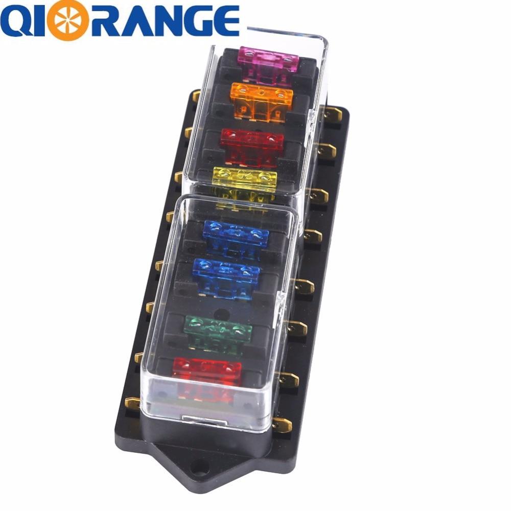 qiorange universal 12v 24v 8 way blade standard car fuse box block holder with 8 fuses for auto car [ 1000 x 1000 Pixel ]