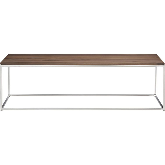 Stainless steel frame Walnut Square coffee table modern minimalist ...
