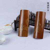 Fine old bamboo carving Liu Qing carbide charge gentleman tea tea six teaspoon hand shovel tea towel holder