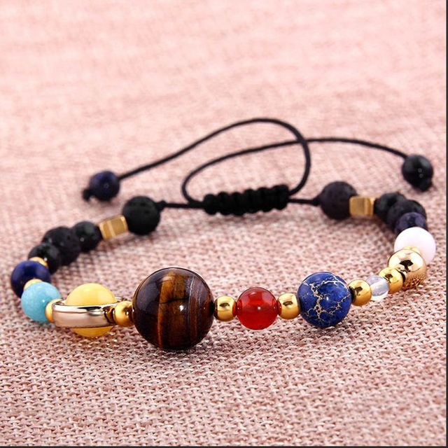 1pcs Unisex Popular Universe Galaxy the Eight Planets in the Solar System Guardian Star Natural Stone Beads Bracelet Bangle Gift